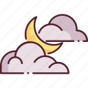 cloudy, forecast, moon, night, sky, weather