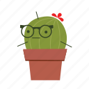 cactus, cute, eyeglasses icon