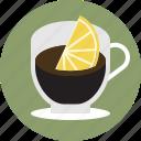 cafe, cafe romano, coffee, espresso, lemon, romano icon