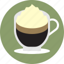 cafe, coffee, cream, espresso, espresso con panna, whipped cream icon