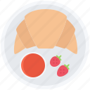 cafe, croissant, food, jam, snack, strawberry, sweet icon
