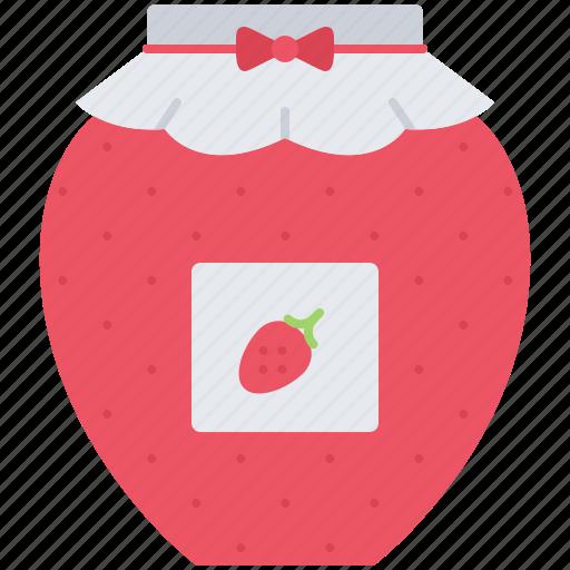 cafe, food, jam, jar, snack, strawberry, sweet icon