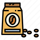 bag, beans, coffee, package icon