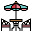 cafe, furniture, table, umbrella icon