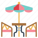 cafe, furniture, table, umbrella