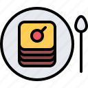 cafe, cake, food, lunch, plate, restaurant, spoon icon