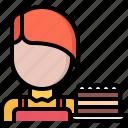 cafe, cake, food, lunch, pie, restaurant, waiter icon