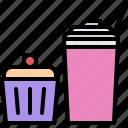 cafe, cupcake, food, lunch, milkshake, muffin, restaurant icon