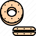 bagel, cafe, food, lunch, restaurant, sandwich icon