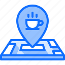 cafe, cup, food, location, lunch, map, restaurant