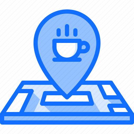Cafe, cup, food, location, lunch, map, restaurant icon - Download on Iconfinder
