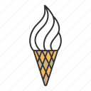 cone, creamy, dessert, frozen, ice cream, sweet, waffle icon