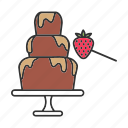 chocolate, chocolate fountain, dessert, fondue, fountain, strawberry icon