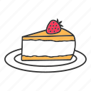 cake, cheesecake, dessert, layer, pie, strawberry, sweet icon