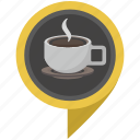 coffee, cup, drink, hot, place, pointer icon