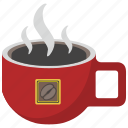 coffee, cup, drink, hot, red icon