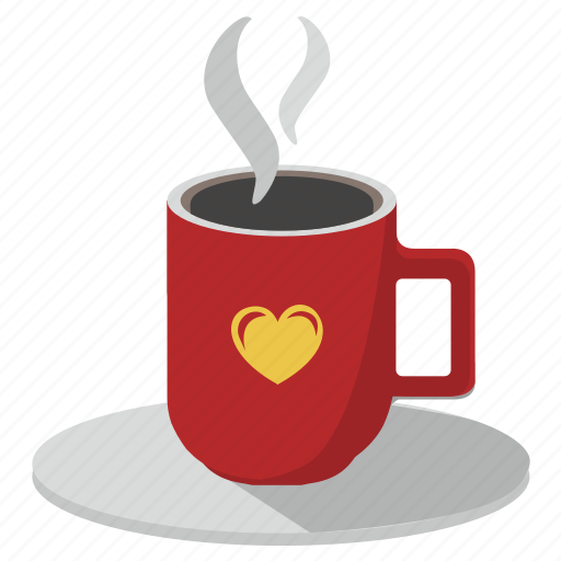 coffee, cup, drink, hot, love, romantic icon