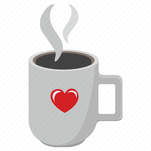 coffee, cup, drink, latte, romatic icon