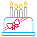 birthday, cake, candles, desert, line icon