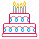 birthday, cake, candles, celebration, desert icon