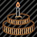birthday, cake, candles, chocolate, sweet icon