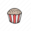 cake, cupcake, pastry, red, sprinkles, white icon