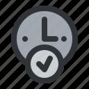alarm, clock, hour, time, verified icon