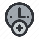 add, alarm, clock, hour, new, time icon