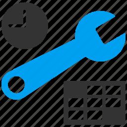 calendar settings, date, datetime, schedule, service, setup, time icon