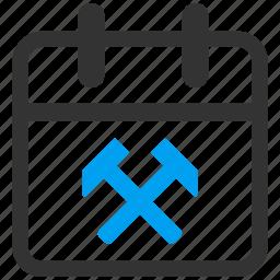 business, calendar, job, maintenance, schedule, work, working day icon