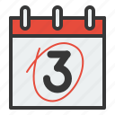 appointment, calendar, date, schedule, three icon