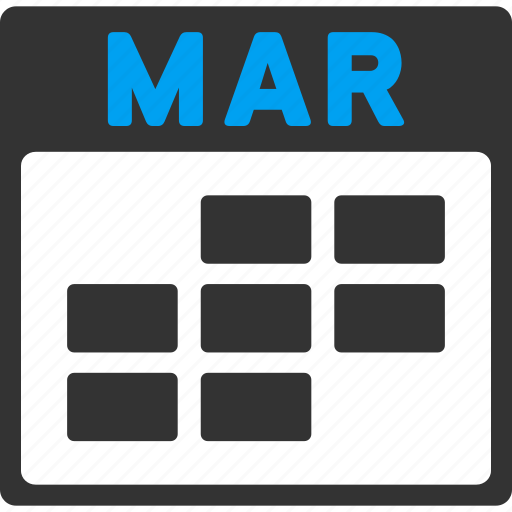 calendar, grid, march, month, plan, schedule, time table icon