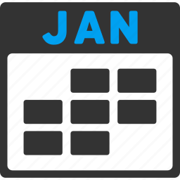 calendar, grid, january, month, plan, schedule, time table icon