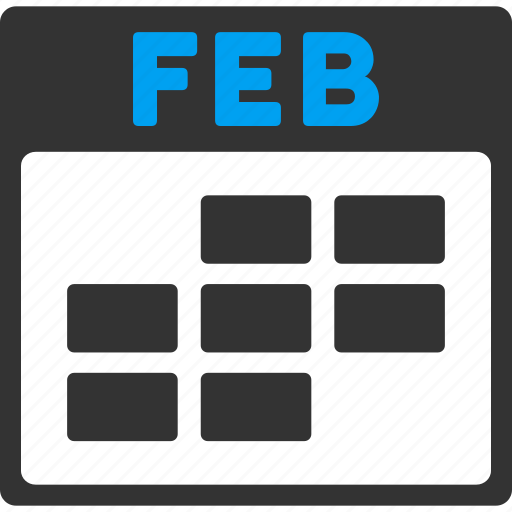 calendar, february, grid, month, plan, schedule, time table icon
