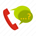 bubble, dot, handset, phone, question, service, three icon