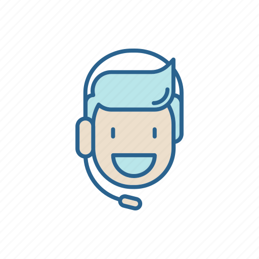 answer, call, center, headset, line, man, thin icon