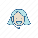 answer, call, center, girl, headset, line, thin icon