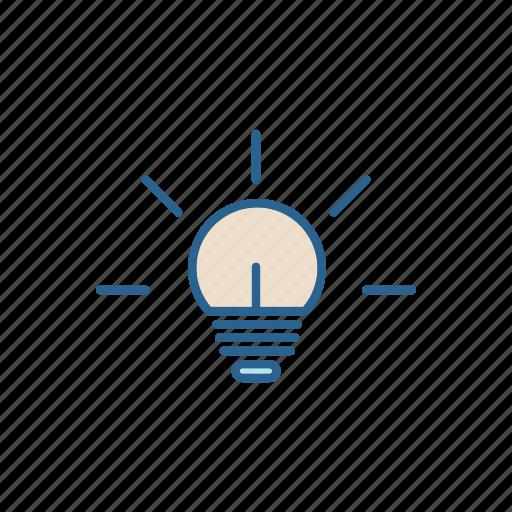 bulb, call, center, idea, line, thin icon