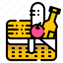 basket, camping, drink, food, picnic icon