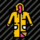 clothing, fashion, rain, raincoat, weather icon