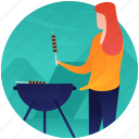 barbeque, campfire cooking, camping food, food grilling, outdoor cooking, picnic food icon