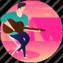 camping guitarist, guitar man, guitar player, music man, musician icon