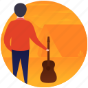 guitar man, guitar player, guitarist, music man, musician icon