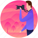cameraman, nature pictures, person taking pictures, photographer, photography, picture capturing icon