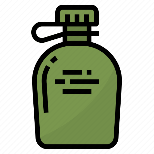 bottle, camping, canteen, hiking, water icon
