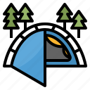 camping, hiking, park, tent, travel icon