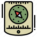 camping, compass, navigation, tool icon