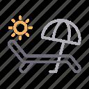 beach, bench, deck, summer, umbrella icon