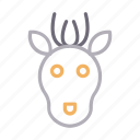 animal, christmas, face, head, reindeer icon