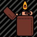camping, fire, lighter, zippo
